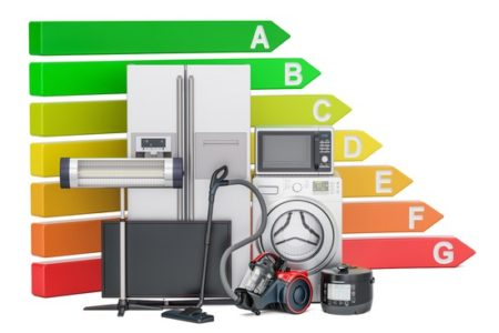 Energy efficiency chart with household appliances. Saving energy